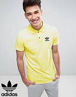 Футболка Поло желтая из натурального материала с принтом  Adidas Адидас тенниска