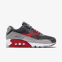 Кроссовки мужские Nike Air Max 90 Wolf Grey/Red (Оригинал), кроссовки найк аир макс 90 серо-чёрные