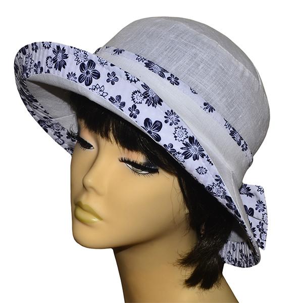 Шляпа женская Маленькая поляна лен белая+ромашки светлые