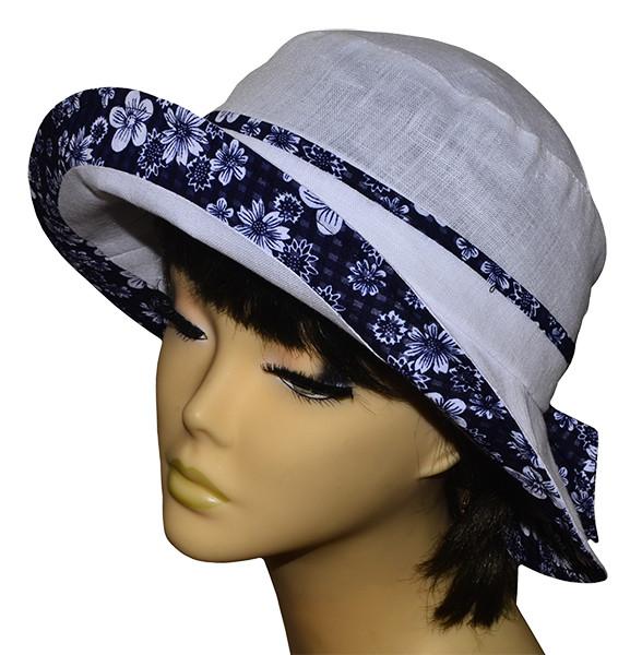 Шляпа женская Маленькая поляна лен белая+ромашки темные