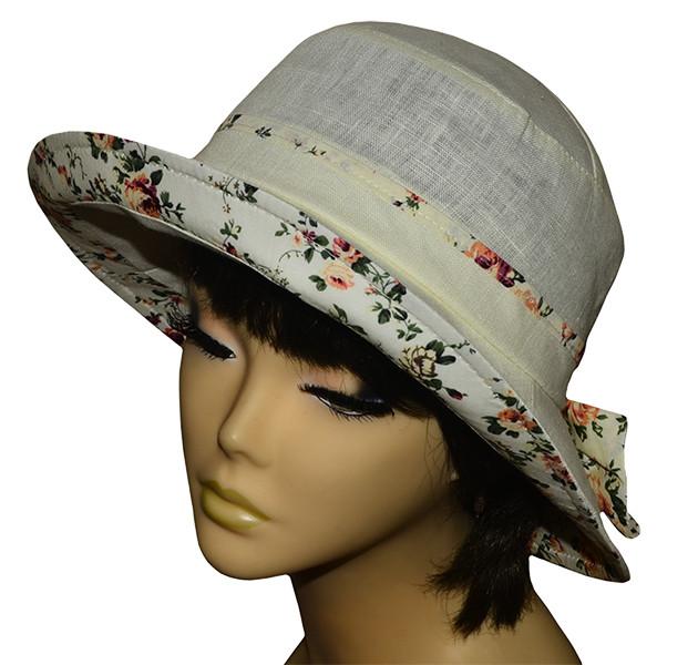 Шляпа женская Маленькая поляна лен молоко+прованс беж
