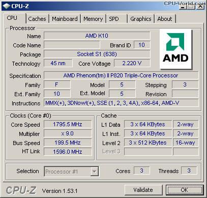 Новый - ГАРАНТИЯ 2мес - Мощный 3-х ядерный процессор AMD Phenom II Triple-Core Mobile P820 - HMP820SGR32GM, фото 2