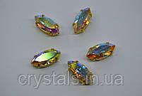 Лодочки в цапах Preciosa (Чехия) 10x5 мм Crystal AB/серебро