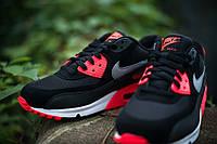 Кроссовки мужские Nike Air Max 90 Black/Infrared (Оригинал), кроссовки найк аир макс 90 чёрные