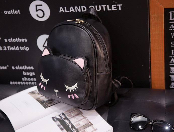 Женский городской рюкзак с лицом котика