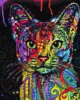 "GX 9868 ""Абиссинская кошка""  Роспись по номерам на холсте 40х50см без коробки, в пакете"