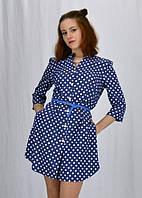 Синее джинсовое платье-рубашка в белый горох