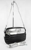 Клатч, сумочка через плечо Valensiy 20716 черная с серебристыми вставками