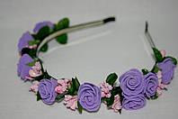 Веночек для волос фиолетовый+кремовый