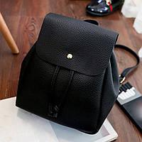 Рюкзак женский мини с кнопкой под кожу (черный), фото 1