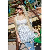 Красивая женская летняя свободная блуза с кружевом