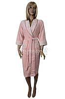 Модель 2017-года халат женский велюровый элитная серия Nusa (пудра) №0315