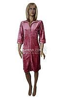 Велюровый халат на молнии с кружевом Nusa (гюлькурушу) №0321