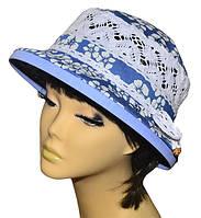 Шляпа женская Парижанка х/б джинс в цветах, фото 1
