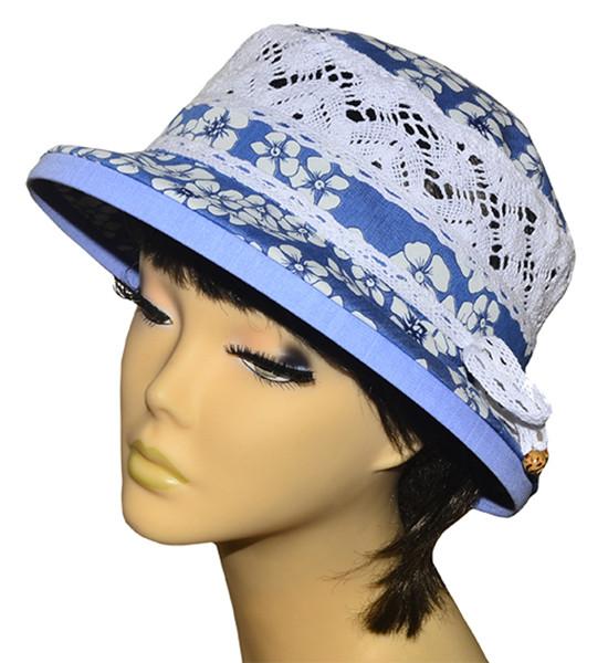 Шляпа женская Парижанка х/б джинс в цветы