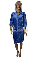 Велюровый халат на молнии с кружевом Nusa (голубой) №0321