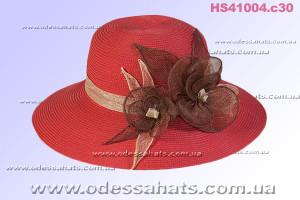 Шикарная женская шляпа для лета цвет красный