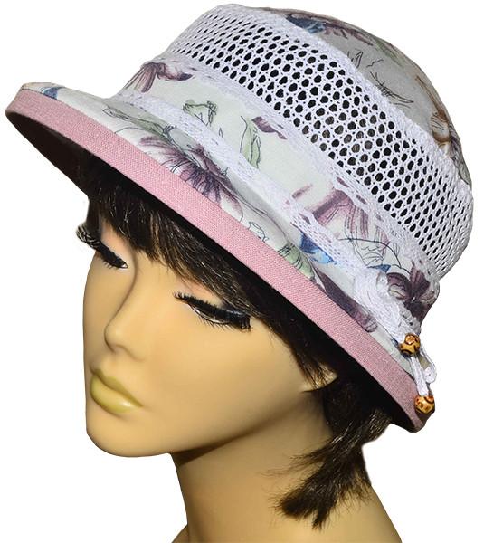 Шляпа Парижанка х/б лютики сирень
