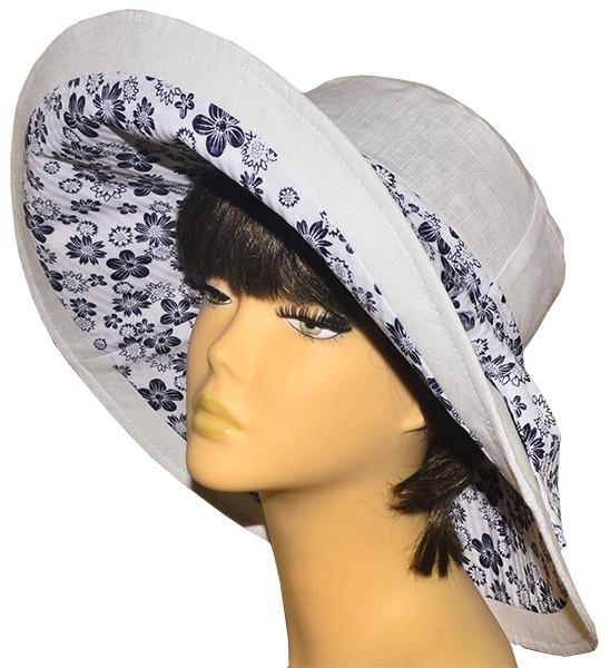 Шляпа женская с широкими полями Поляна белая+ромашка светлая