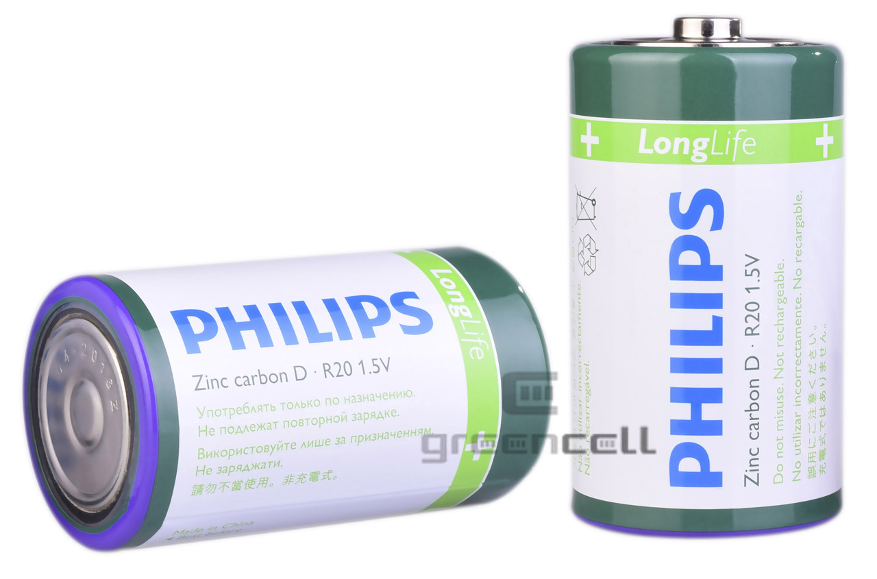 Батарейка PHILIPS R20 Long Life