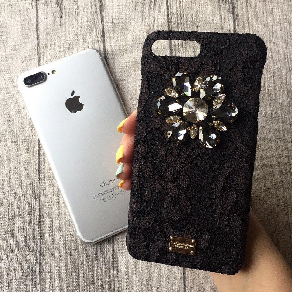 Чёрный чехол с камнями Dolce & Gabbana для iPhone 8/8 Plus