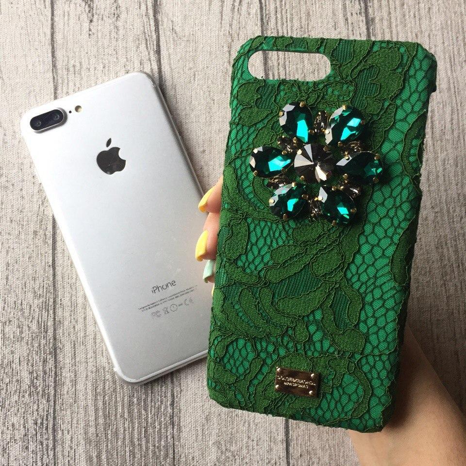 Зелёный чехол с камнями Dolce & Gabbana для iPhone 8/ 8Plus