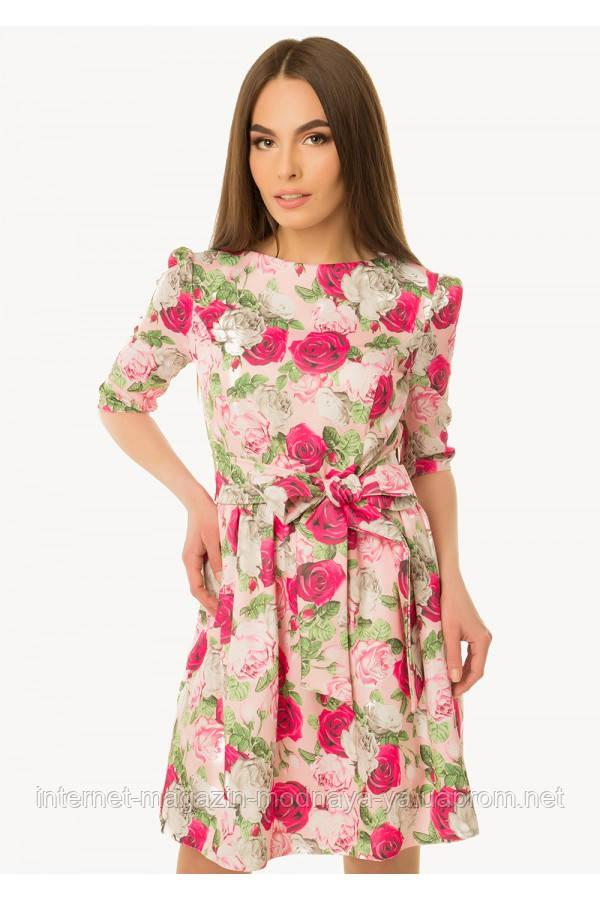 Платье с пышной юбкой р. 42-44 розы на пудре