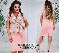 Нарядный женский юбочный костюм пиджак и юбка до колена нежный цветочный принт розовый