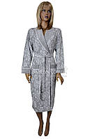 Модель 2017-года халат женский велюровый элитная серия Nusa (серый) №17231