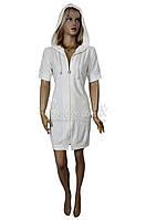 Красивый молодежный халат с капюшоном, на молнии Nusa (крем) №0151