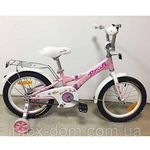"""Детский двухколесный велосипед Profi Original girl Розовый 16"""" (G1661) с приставными колесиками"""