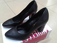 НОВИНКА! Женские классические туфли  на каблуке NIVELLE  1592 черн.кожа