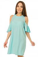 Платье с рукавом-рюшка р. S;L голубой