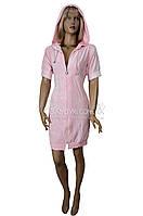 Красивый молодежный халат с капюшоном, на молнии Nusa (розовый) №0151