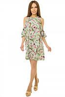 Платье с рукавом-рюшка р. S;М;L сакура-мята