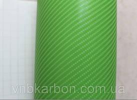 Карбон пленка 4D салатовая под лаком с микроканалами