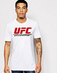 Мужская футболка UFC,мужская футболка УФС, спортивная, брендовая, хлопок, белая, размеры: ХС-ХХХЛ