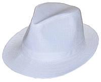 Шляпа Федора белый лен