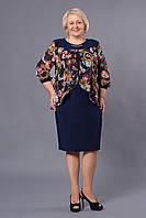 Платье нарядное трикотаж с шифоном 54-56-58-60-62 V199-01