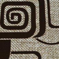 Мебельная ткань рогожка с флоком Квадрат коричневый