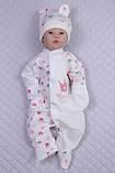 """Комбинезон """"Princess"""" с колпачком, молочный, розово-серые короны, фото 2"""