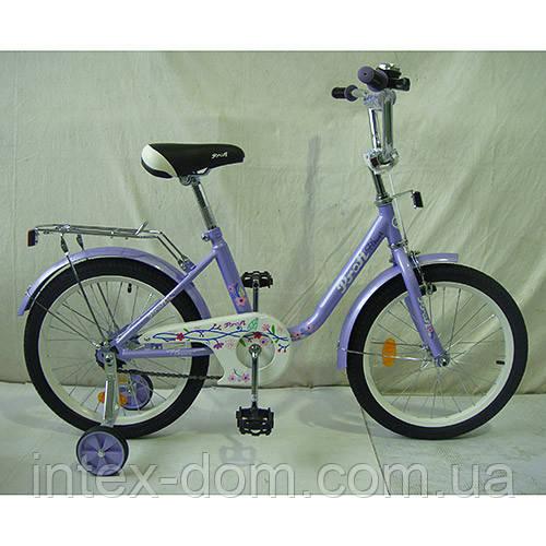 """Двухколесный велосипед Profi Flower 18"""" Фиолетовый (L1883) с приставными колесиками"""