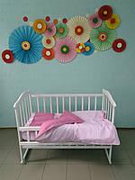 """Детское постельное белье 5 в 1 """"Розовая карамелька"""", (резинка, молния, 90х120)"""