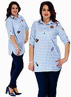 """Стильная рубашка для пышных дам """" Клетка вышивки """" Dress Code"""