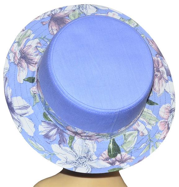 Шляпа женская Канотье лютики голубые