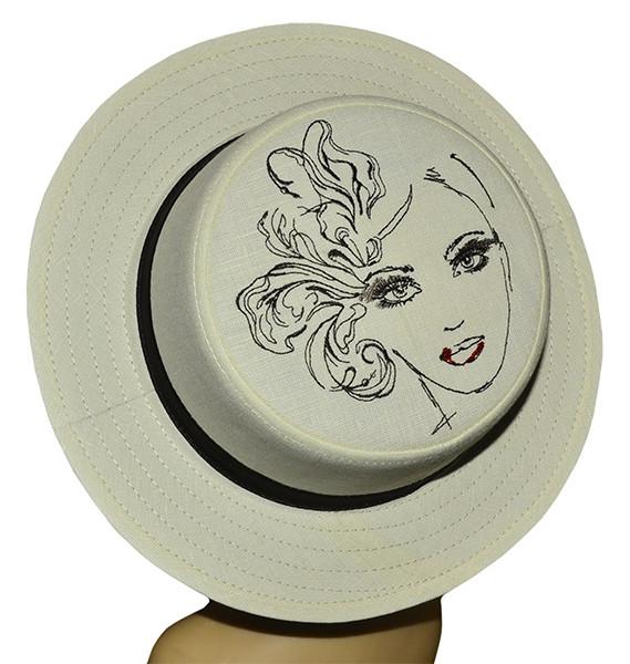 Шляпа женская канотье вышивка девушка с цветком