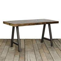 Обеденный стол ID-515. Натуральное дерево и металл. Цвет тёмный. Ручная работа. Сделано в Индии.