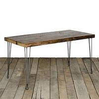 Обеденный стол ID-516. Натуральное дерево и металл. Цвет тёмный. Ручная работа. Сделано в Индии.