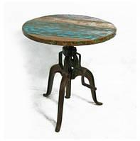 Стол круглый ID-533. Натуральное дерево и железо. Цвет декоративная покраска. Ручная работа. Сделано в Индии.