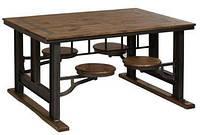 Стол для паба ID-564. Натуральное дерево и металл. Цвет дерева светлый. Ручная работа. Сделано в Индии.